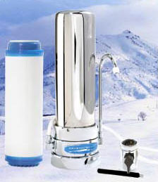 Crystal Quest Countertop Replaceable Single Fluoride/Multi Water Filter System (Stainless Steel)